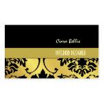 Damask on gold tone, black on black business card