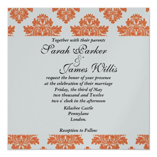 Damask orange & black metallic Wedding Invite