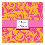 Damask Orange & Pink Bridal Shower Invitations