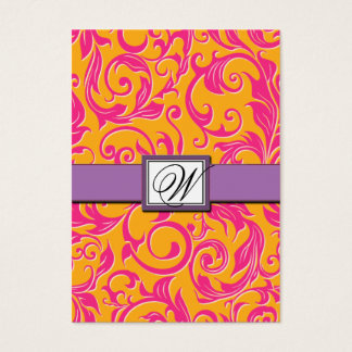 Damask Orange & Pink Wedding Reception Cards