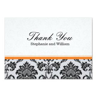 Damask Orange Wedding Thank You Card