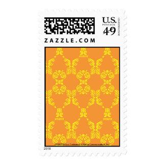 Damask Orange-Yellow Postage Stamps