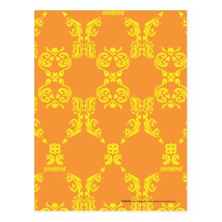 Damask Orange-Yellow Postcard