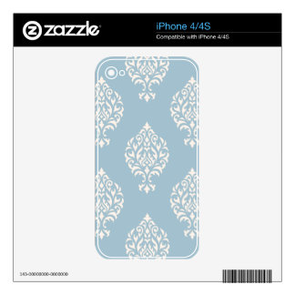 Damask Ornamental Large Pattern Cream on Blue Skin For The iPhone 4