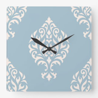 Damask Ornamental Large Pattern Cream on Blue Square Wall Clock