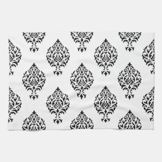 Damask Ornamental Pattern Black on White Hand Towel