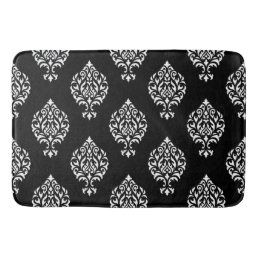 Damask Ornamental Pattern White on Black Bathroom Mat