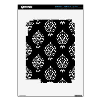 Damask Ornamental Pattern White on Black Decals For iPad 3