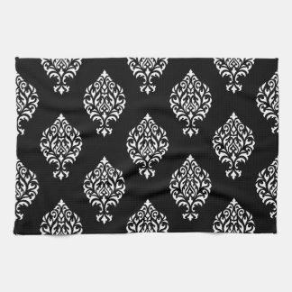 Damask Ornamental Pattern White on Black Towels
