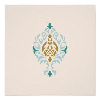 Damask Ornamental Teals Gold Cream Design Poster