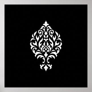 Damask Ornamental White on Black Design Poster