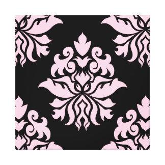Damask Ornate - Black & Pink Stretched Canvas Print