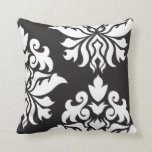 Damask Ornate Montage II White on Black Throw Pillow