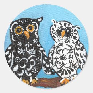 Damask Owls on Blue Classic Round Sticker