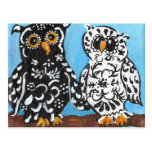 Damask Owls on Blue Post Cards
