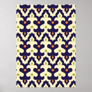 Damask paisley arabesque Moroccan pattern girly Poster