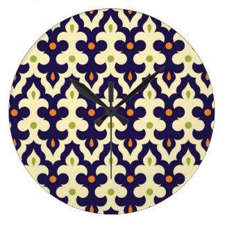 Damask paisley arabesque Moroccan preppy pattern Clock