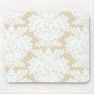Damask   Pale Gold & White   Customizable Mouse Pad