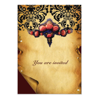 DAMASK PARCHMENT AND PINK CORAL ROSES CARD