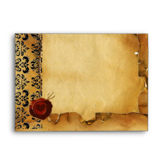 DAMASK PARCHMENT, ANGEL HEART RED WAX SEAL ENVELOPE