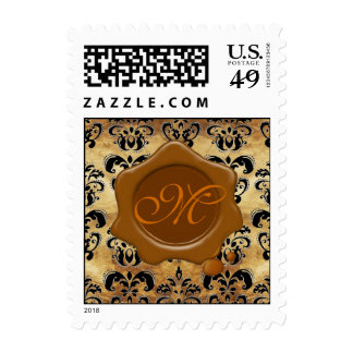 DAMASK PARCHMENT BROWN WAX SEAL MONOGRAM, STAMPS