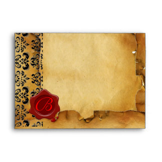 DAMASK PARCHMENT, RED WAX SEAL MONOGRAM ENVELOPE