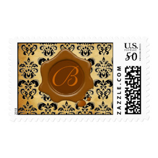 DAMASK PARCHMENT RED WAX SEAL MONOGRAM, POSTAGE