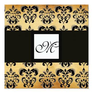 DAMASK PARCHMENT SQUARE MONOGRAM,black white brown Card