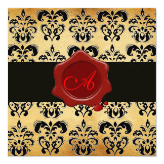 DAMASK PARCHMENT WAX SEAL MONOGRAM,black and brown 5.25x5.25 Square Paper Invitation Card