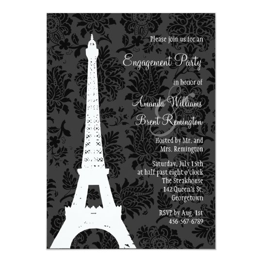 Damask Paris Engagement Party Card
