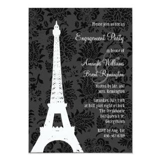 Damask Paris Engagement Party 5x7 Paper Invitation Card