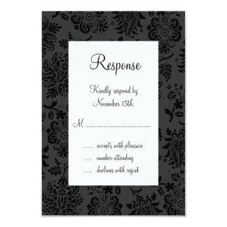 Damask Paris RSVP (black) 3.5x5 Paper Invitation Card