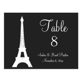 Damask Paris Table Number Postcard
