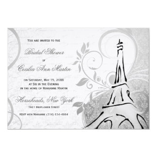 Damask Parisienne - Black & White Bridal Shower Card