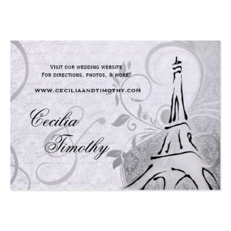 Damask Parisienne: Black & White Wedding Website Business Card Template