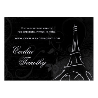 Damask Parisienne: Black & White Wedding Website Business Card
