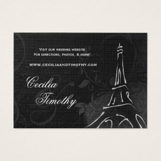 Damask Parisienne: Black & White Wedding Website Business Card