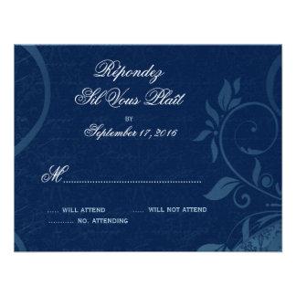 Damask Parisienne - Dark Sapphire Blue RSVP Custom Announcements