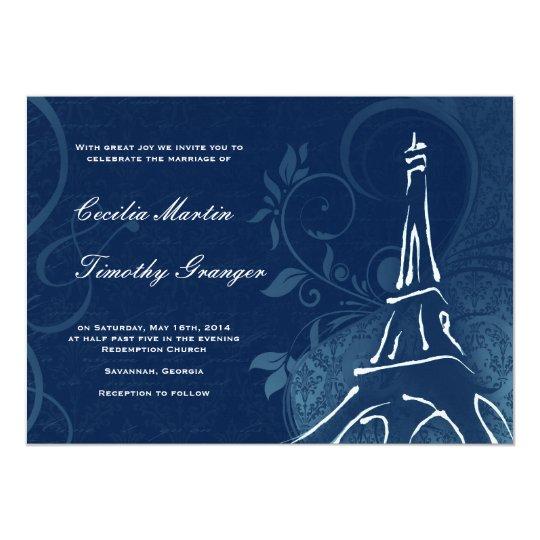 Damask Parisienne - Dark Sapphire Blue Wedding Card