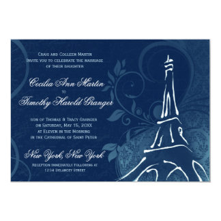 Damask Parisienne - Dark Sapphire Blue Wedding Card