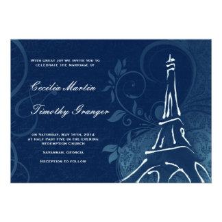 Damask Parisienne - Dark Sapphire Blue Wedding Personalized Announcement
