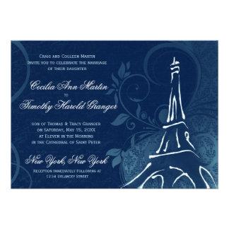 Damask Parisienne - Dark Sapphire Blue Wedding Custom Announcement
