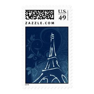 Damask Parisienne - Dark Sapphire Blue Wedding Postage