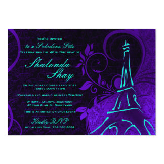 Damask Parisienne: Electric Teal & Purple Birthday Card
