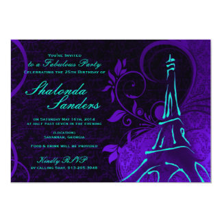 Damask Parisienne: Electric Teal & Purple Birthday 5x7 Paper Invitation Card