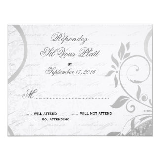 Damask Parisienne - Elegant Black & White RSVP Card