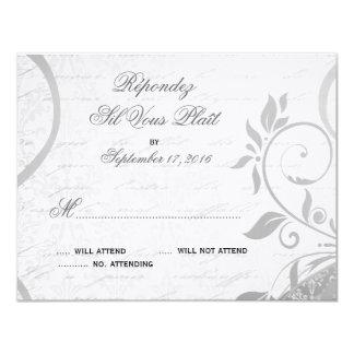 Damask Parisienne - Elegant Black & White RSVP Card