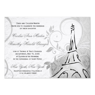 Damask Parisienne - Elegant Black & White Wedding Card