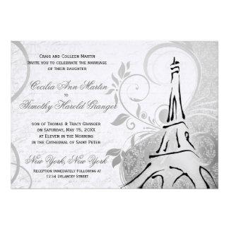 Damask Parisienne - Elegant Black & White Wedding Custom Invite