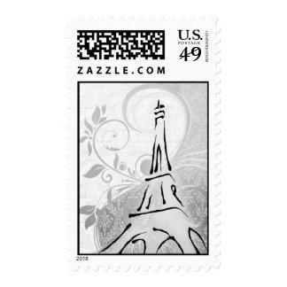 Damask Parisienne - Elegant Black & White Wedding Postage Stamp